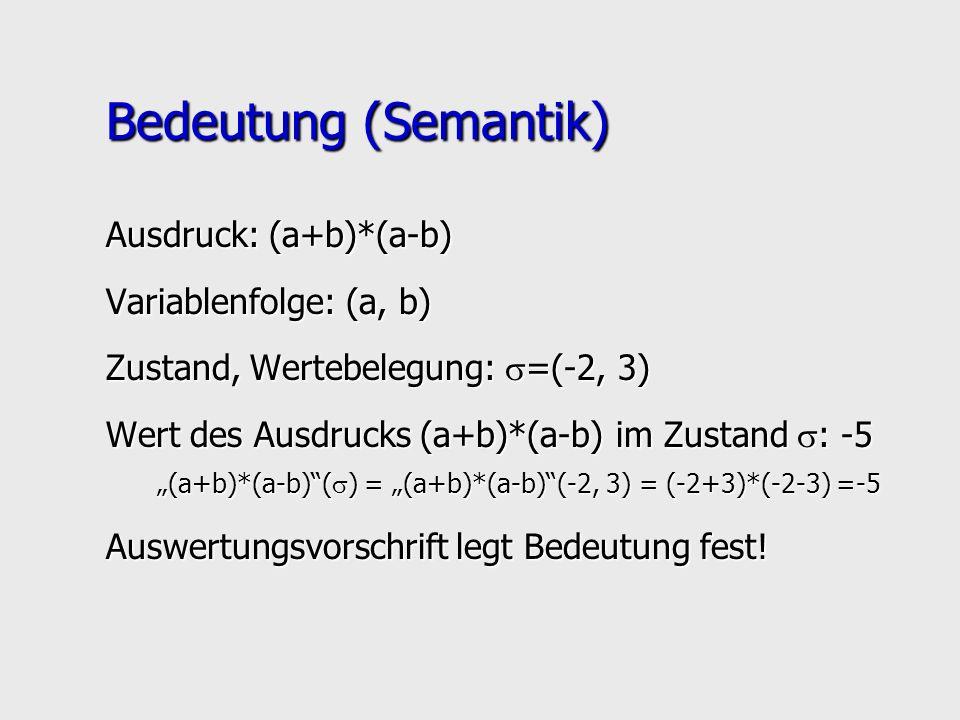 Bedeutung (Semantik) Ausdruck: (a+b)*(a-b) Variablenfolge: (a, b)