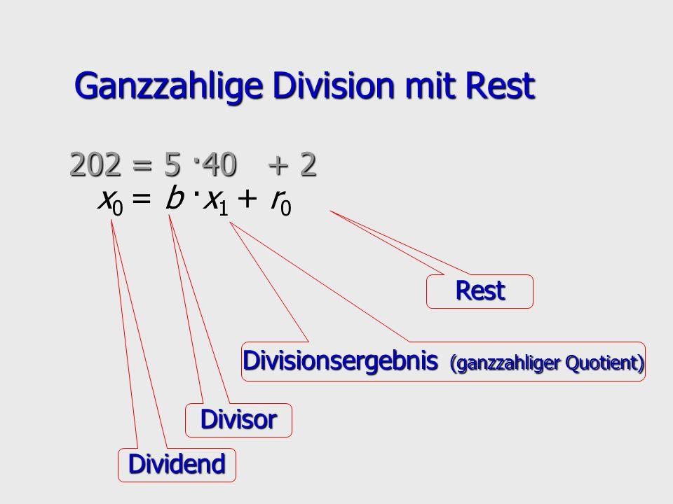 Ganzzahlige Division mit Rest