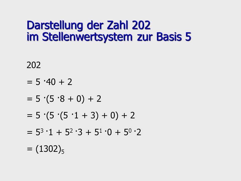 Darstellung der Zahl 202 im Stellenwertsystem zur Basis 5