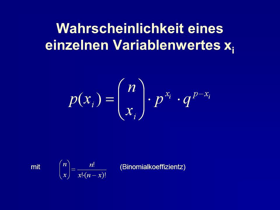Wahrscheinlichkeit eines einzelnen Variablenwertes xi