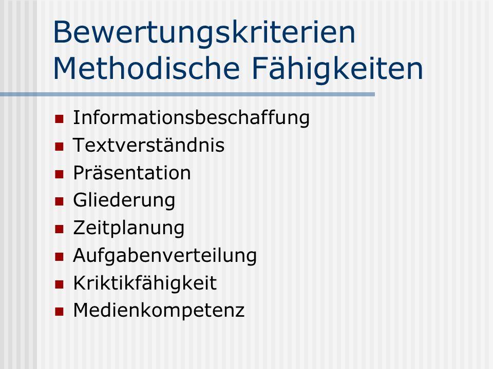Bewertungskriterien Methodische Fähigkeiten