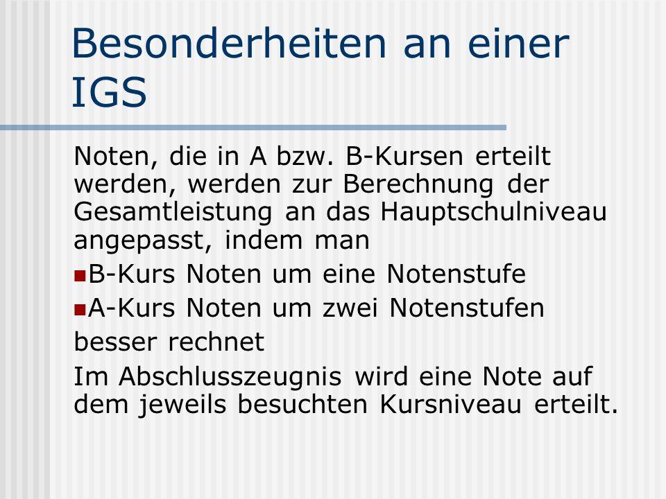 Besonderheiten an einer IGS