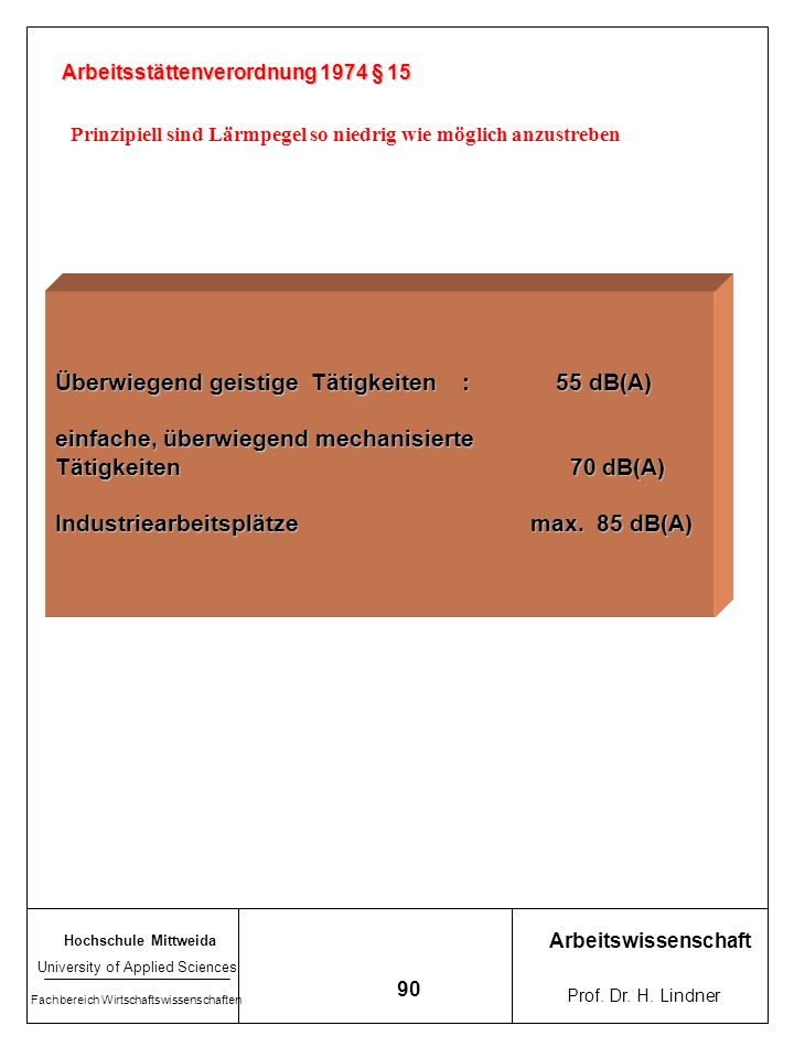 Überwiegend geistige Tätigkeiten : 55 dB(A)