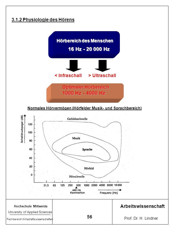 16 Hz - 20 000 Hz 1000 Hz - 4000 Hz 3.1.2 Physiologie des Hörens