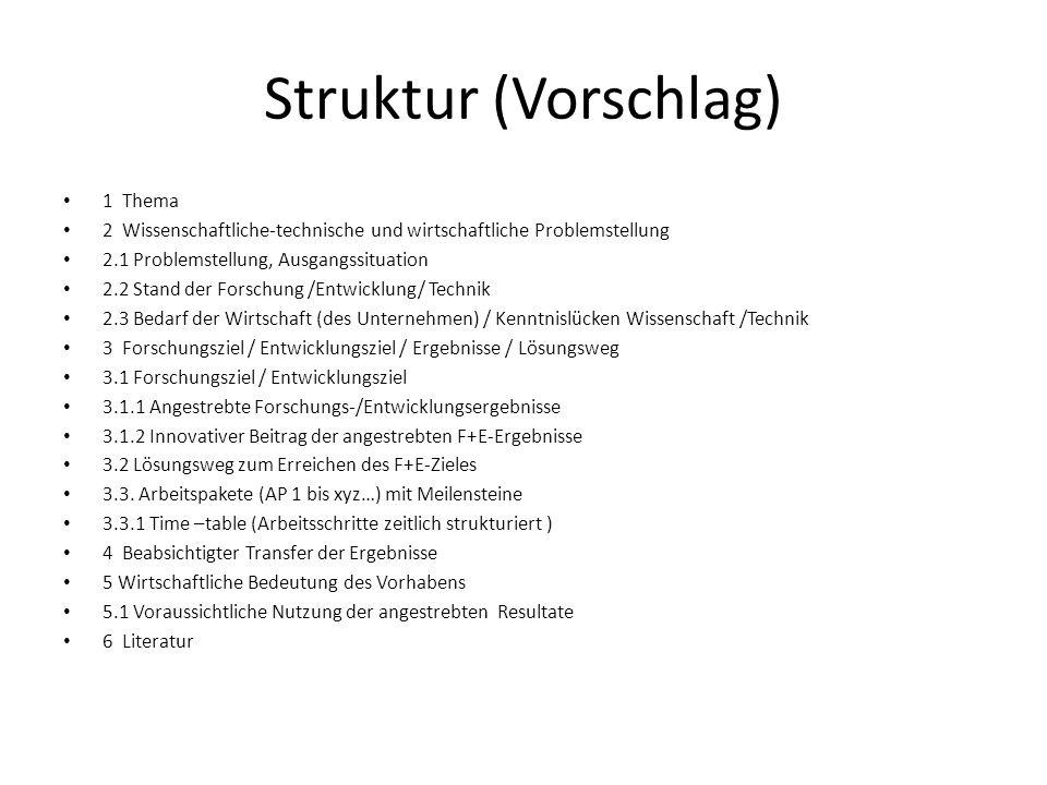 Struktur (Vorschlag) 1 Thema