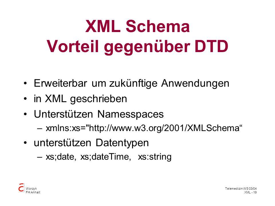XML Schema Vorteil gegenüber DTD
