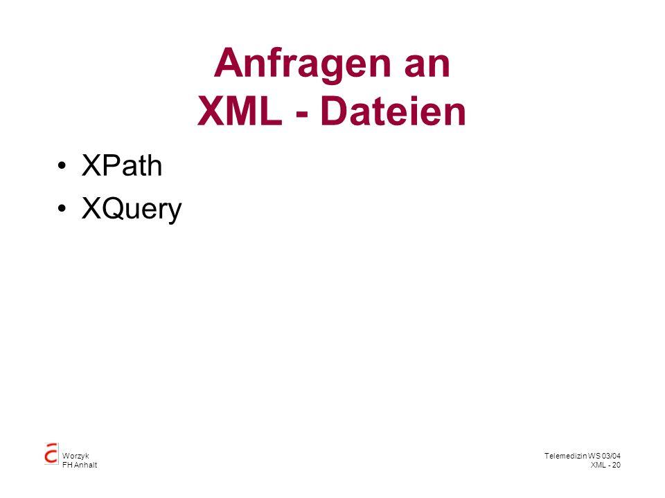 Anfragen an XML - Dateien
