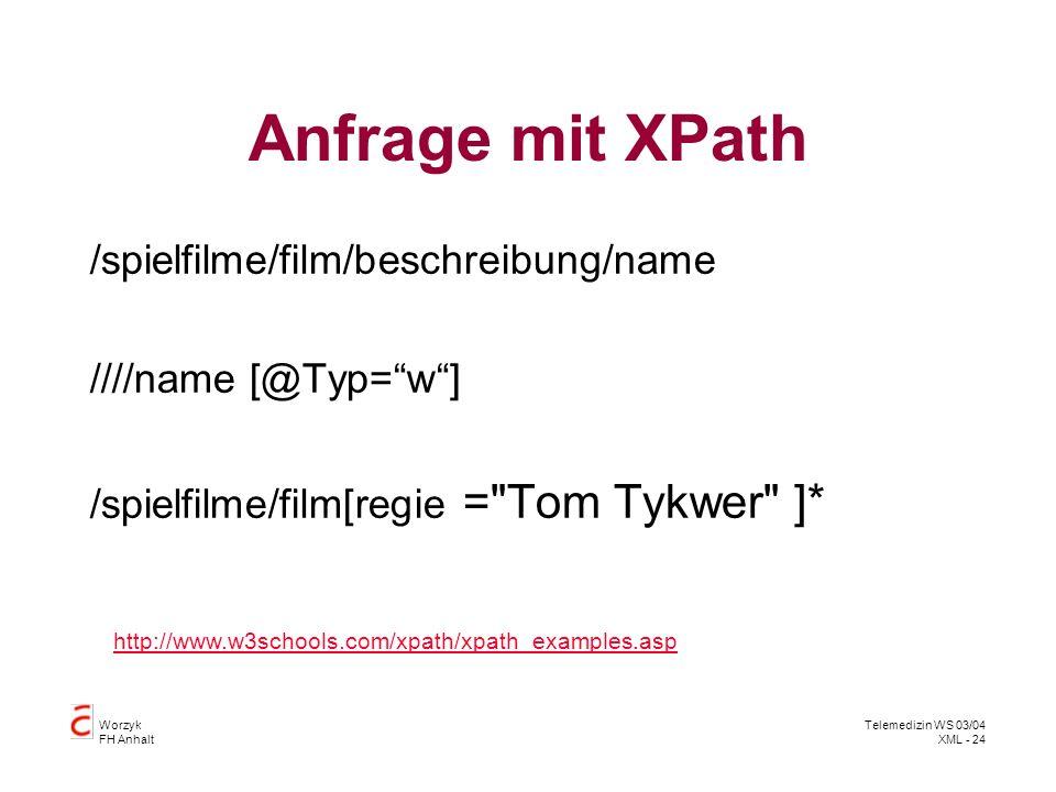 Anfrage mit XPath /spielfilme/film/beschreibung/name