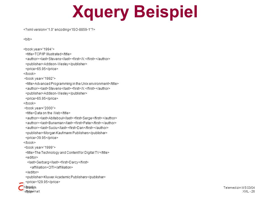 Xquery Beispiel < xml version= 1.0 encoding= ISO-8859-1 >