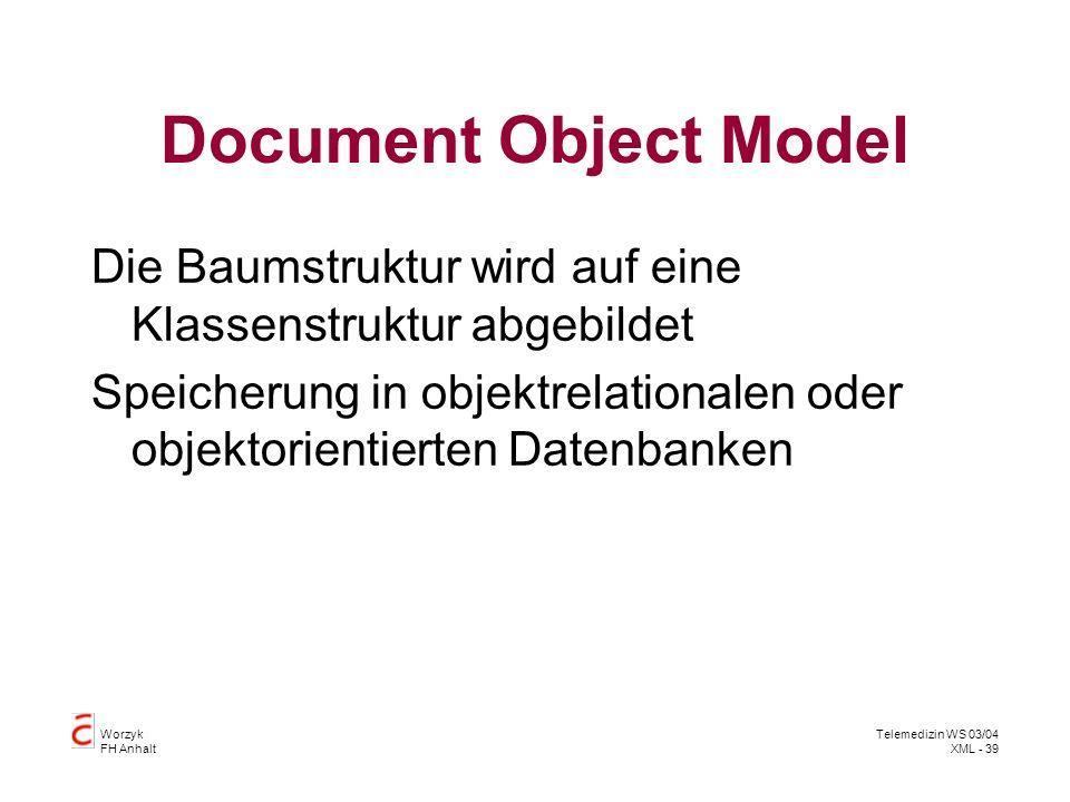 Document Object Model Die Baumstruktur wird auf eine Klassenstruktur abgebildet.