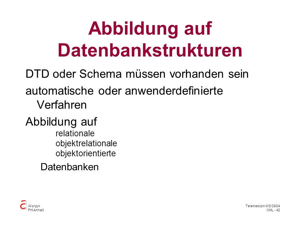 Abbildung auf Datenbankstrukturen