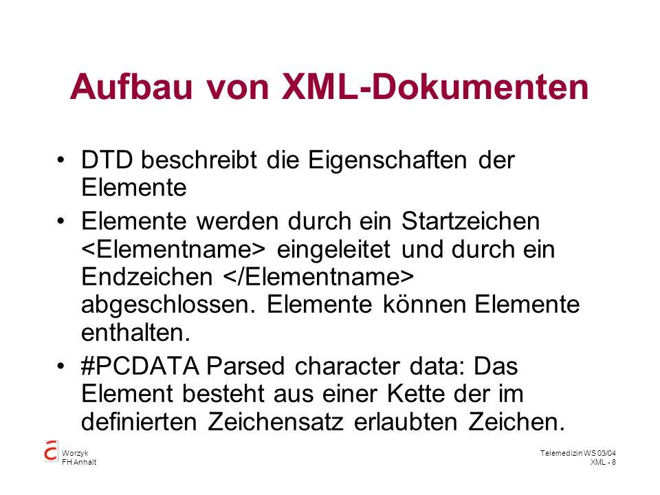 Aufbau von XML-Dokumenten