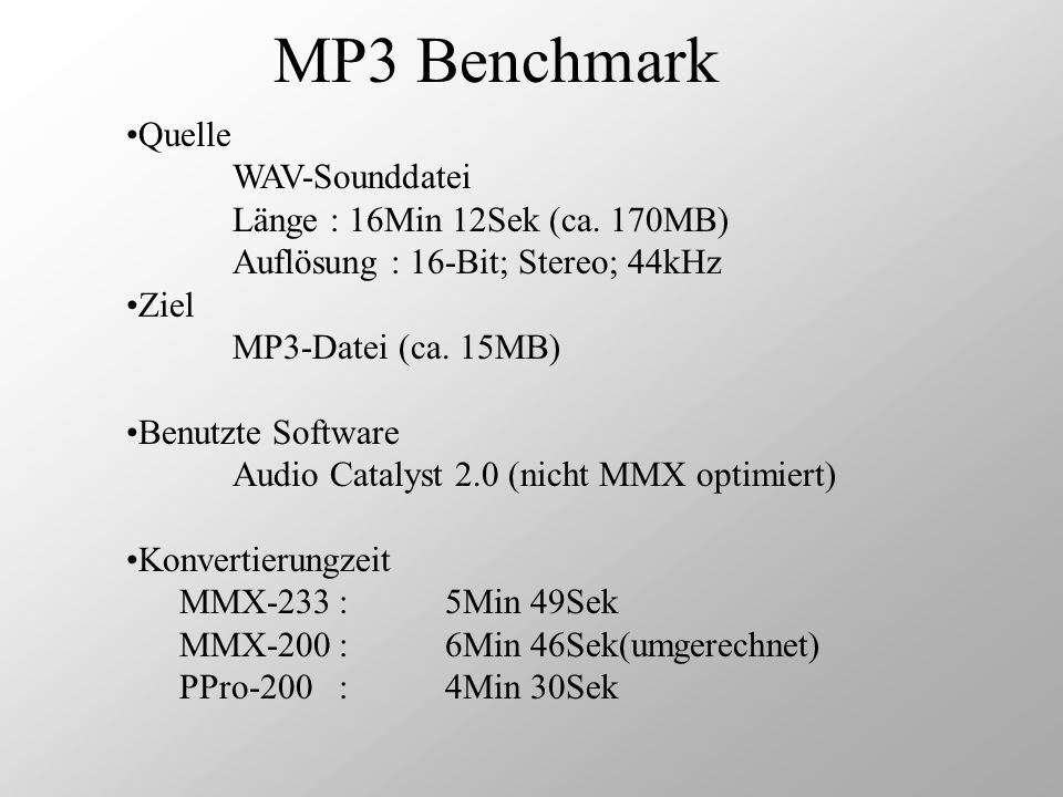 MP3 Benchmark Quelle WAV-Sounddatei Länge : 16Min 12Sek (ca. 170MB)