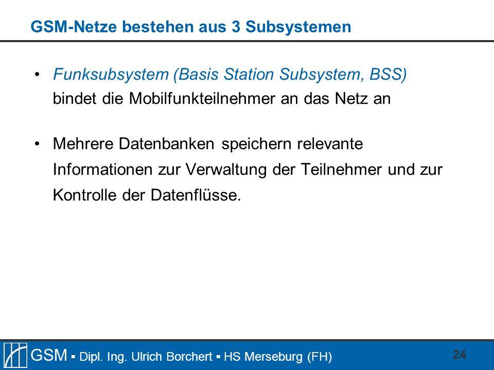 GSM-Netze bestehen aus 3 Subsystemen