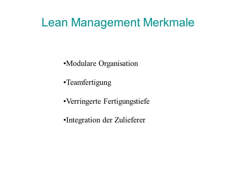 Lean Management Merkmale