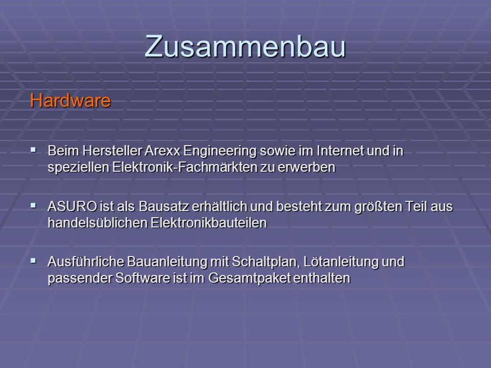 Zusammenbau Hardware. Beim Hersteller Arexx Engineering sowie im Internet und in speziellen Elektronik-Fachmärkten zu erwerben.