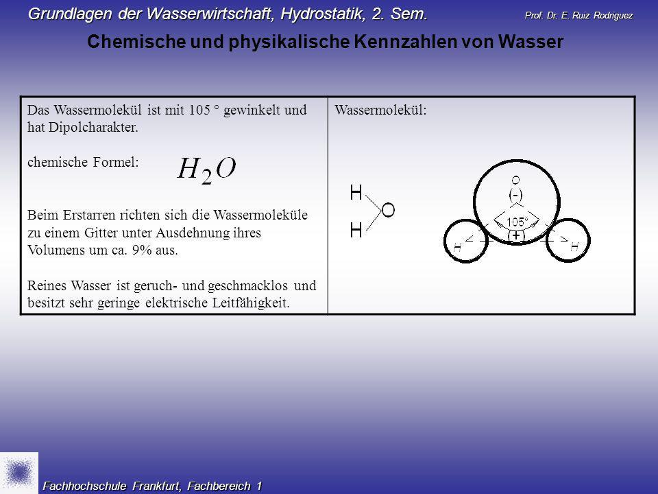 Chemische und physikalische Kennzahlen von Wasser