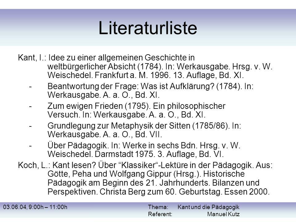 Thema: Kant und die Pädagogik