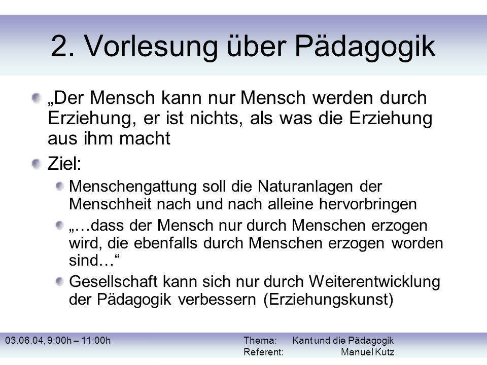 2. Vorlesung über Pädagogik