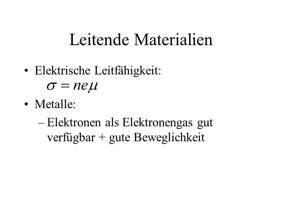 Leitende Materialien Elektrische Leitfähigkeit: Metalle: