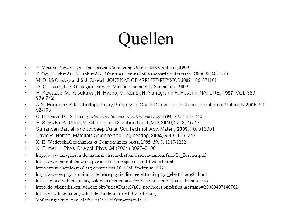 Quellen T. Minami, New n-Type Transparent Conducting Oxides, MRS Bulletin, 2000.