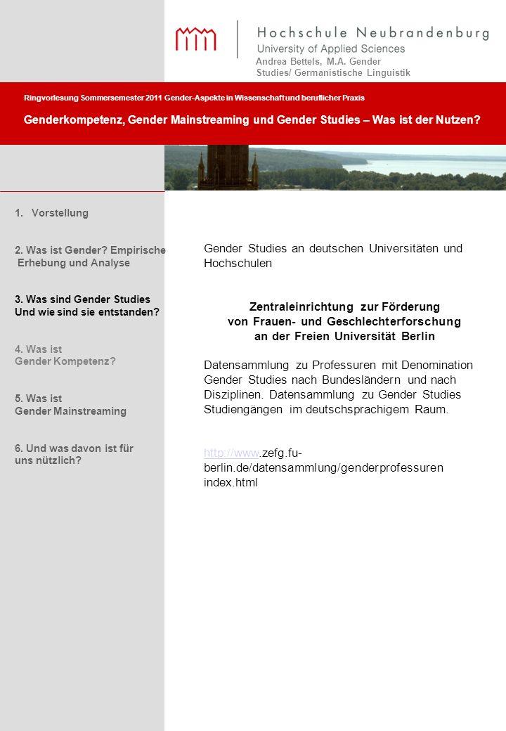 Gender Studies an deutschen Universitäten und Hochschulen