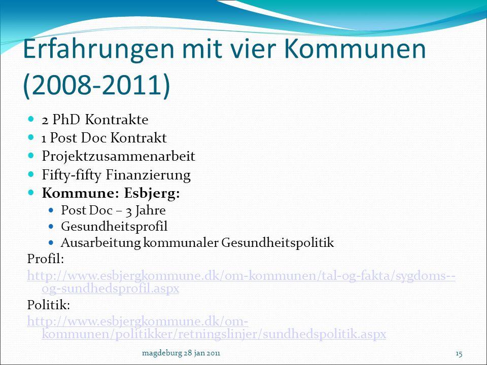 Erfahrungen mit vier Kommunen (2008-2011)