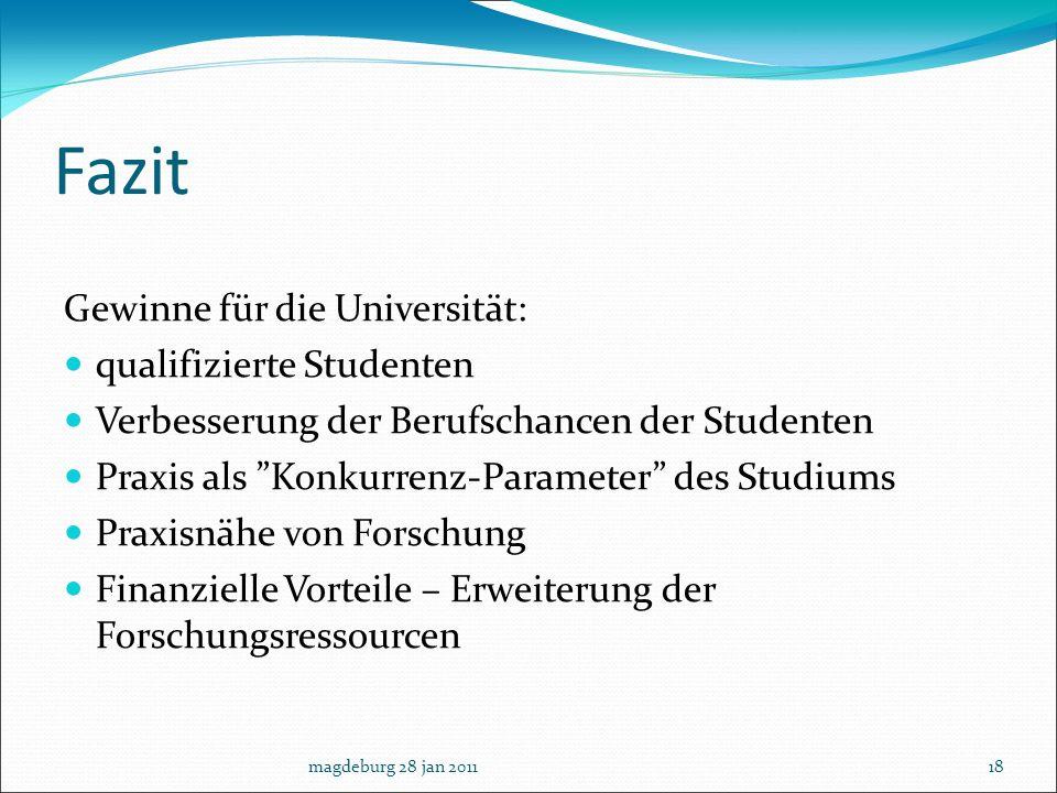 Fazit Gewinne für die Universität: qualifizierte Studenten