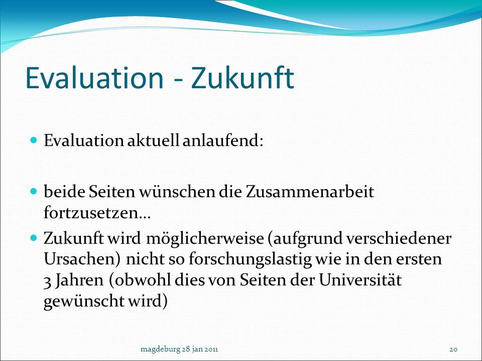 Evaluation - Zukunft Evaluation aktuell anlaufend: