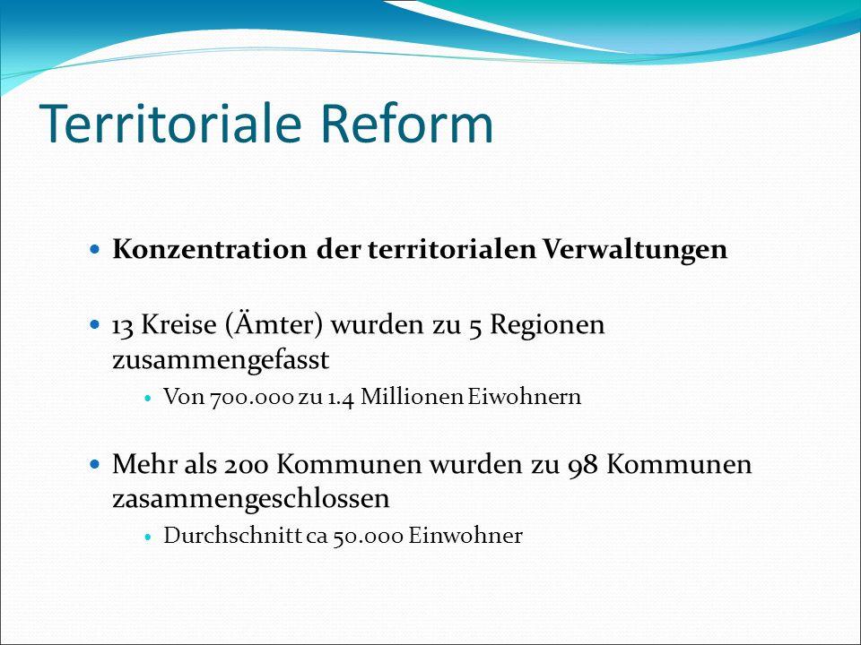 Territoriale Reform Konzentration der territorialen Verwaltungen