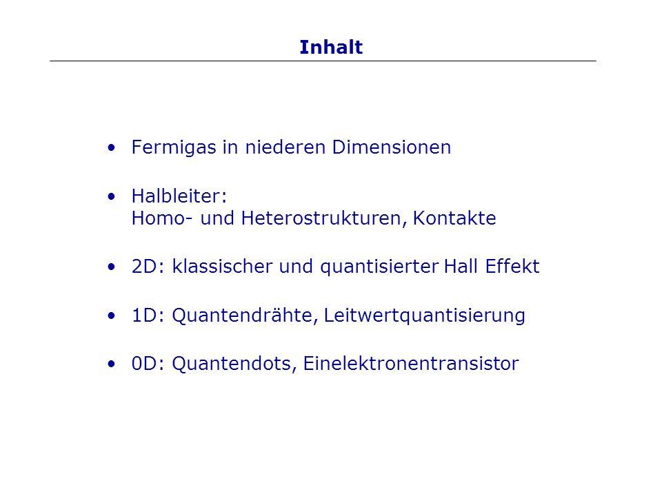 Inhalt Fermigas in niederen Dimensionen. Halbleiter: Homo- und Heterostrukturen, Kontakte. 2D: klassischer und quantisierter Hall Effekt.