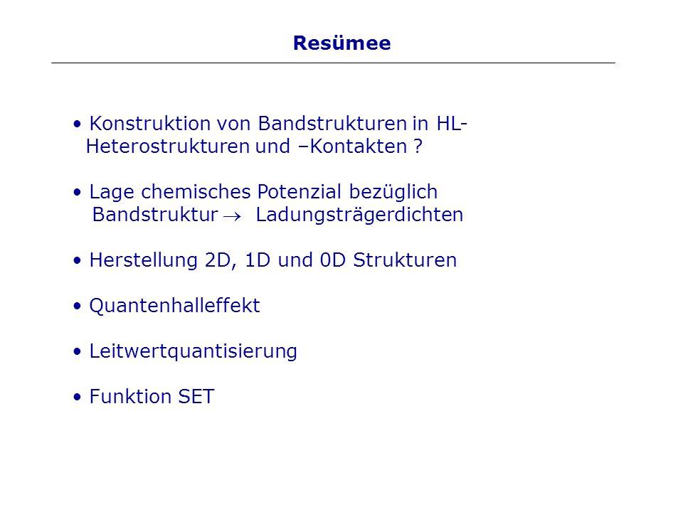 Resümee Konstruktion von Bandstrukturen in HL- Heterostrukturen und –Kontakten