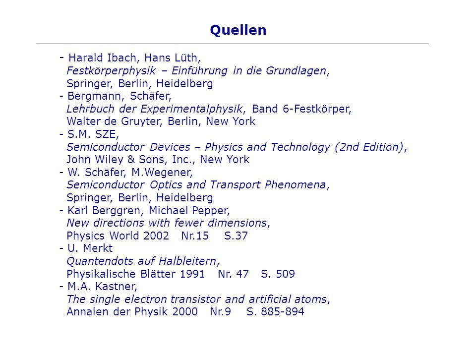 Quellen Harald Ibach, Hans Lüth, Festkörperphysik – Einführung in die Grundlagen, Springer, Berlin, Heidelberg.