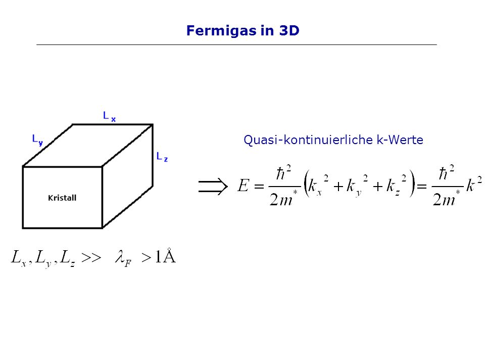 Fermigas in 3D Quasi-kontinuierliche k-Werte