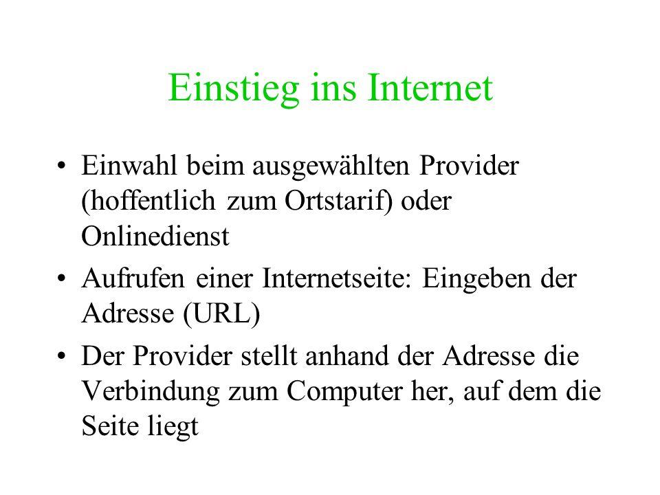 Einstieg ins Internet Einwahl beim ausgewählten Provider (hoffentlich zum Ortstarif) oder Onlinedienst.