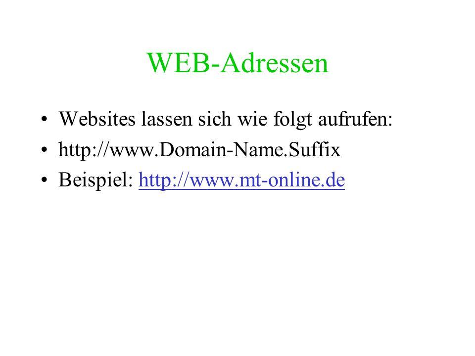 WEB-Adressen Websites lassen sich wie folgt aufrufen: