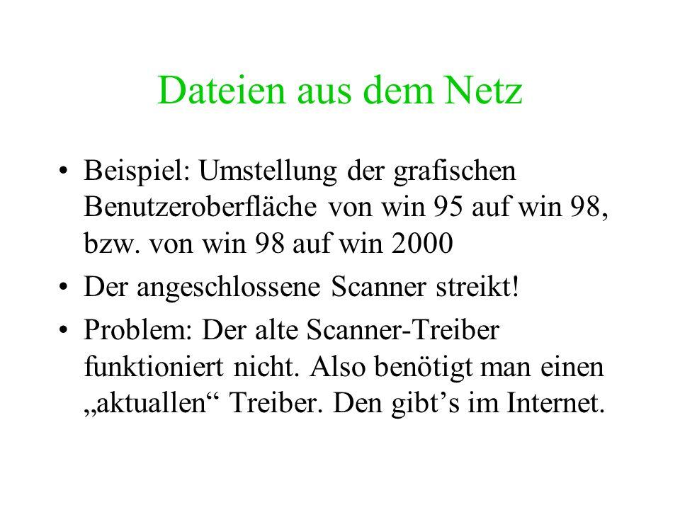 Dateien aus dem NetzBeispiel: Umstellung der grafischen Benutzeroberfläche von win 95 auf win 98, bzw. von win 98 auf win 2000.