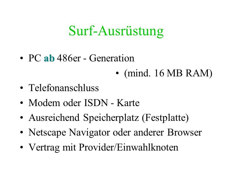 Surf-Ausrüstung PC ab 486er - Generation (mind. 16 MB RAM)
