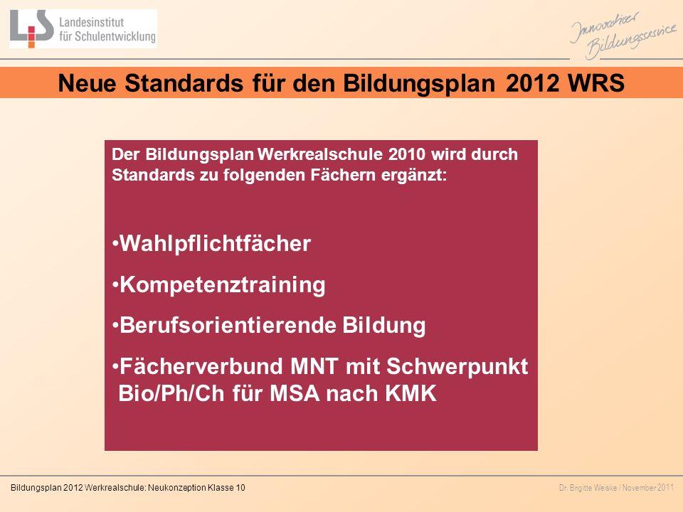 Neue Standards für den Bildungsplan 2012 WRS