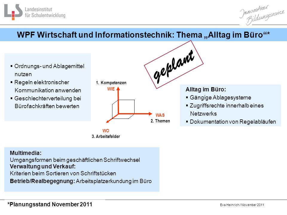 """WPF Wirtschaft und Informationstechnik: Thema """"Alltag im Büro *"""