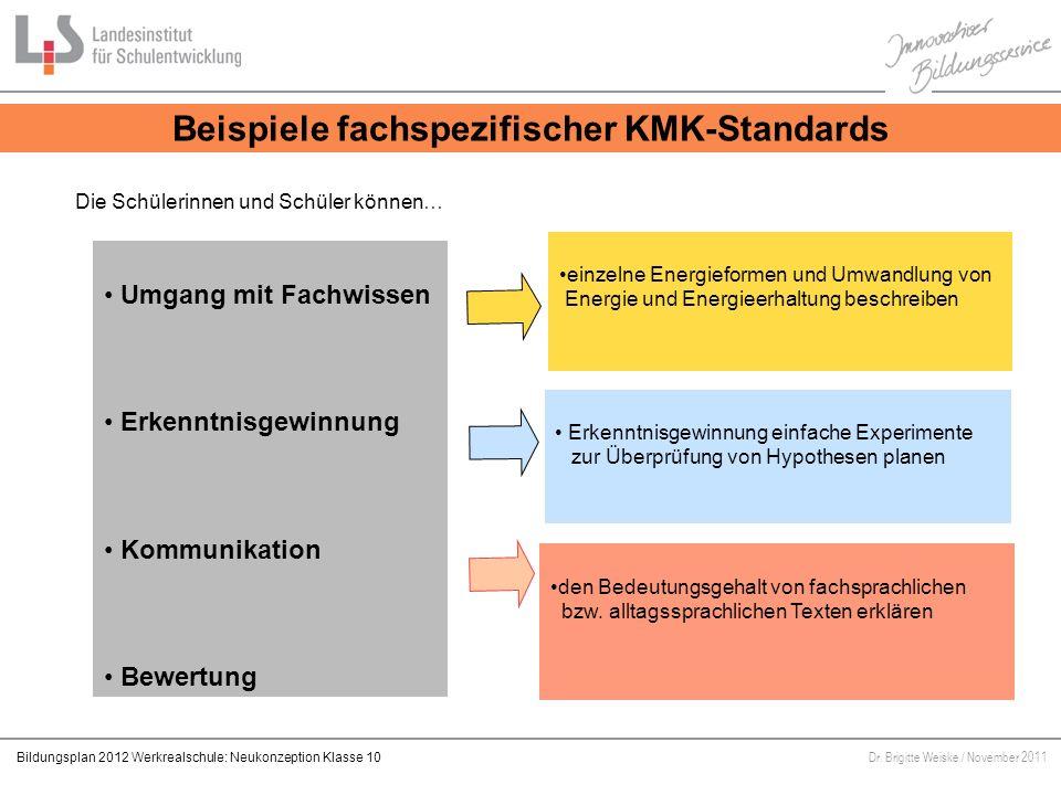 Beispiele fachspezifischer KMK-Standards