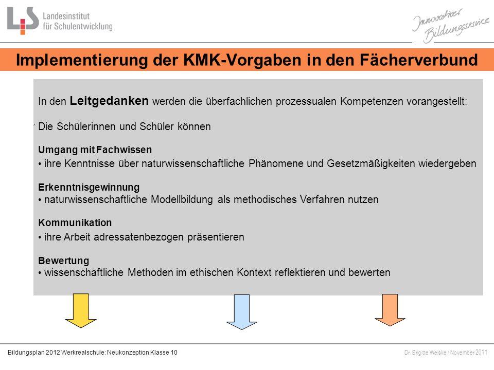 Implementierung der KMK-Vorgaben in den Fächerverbund