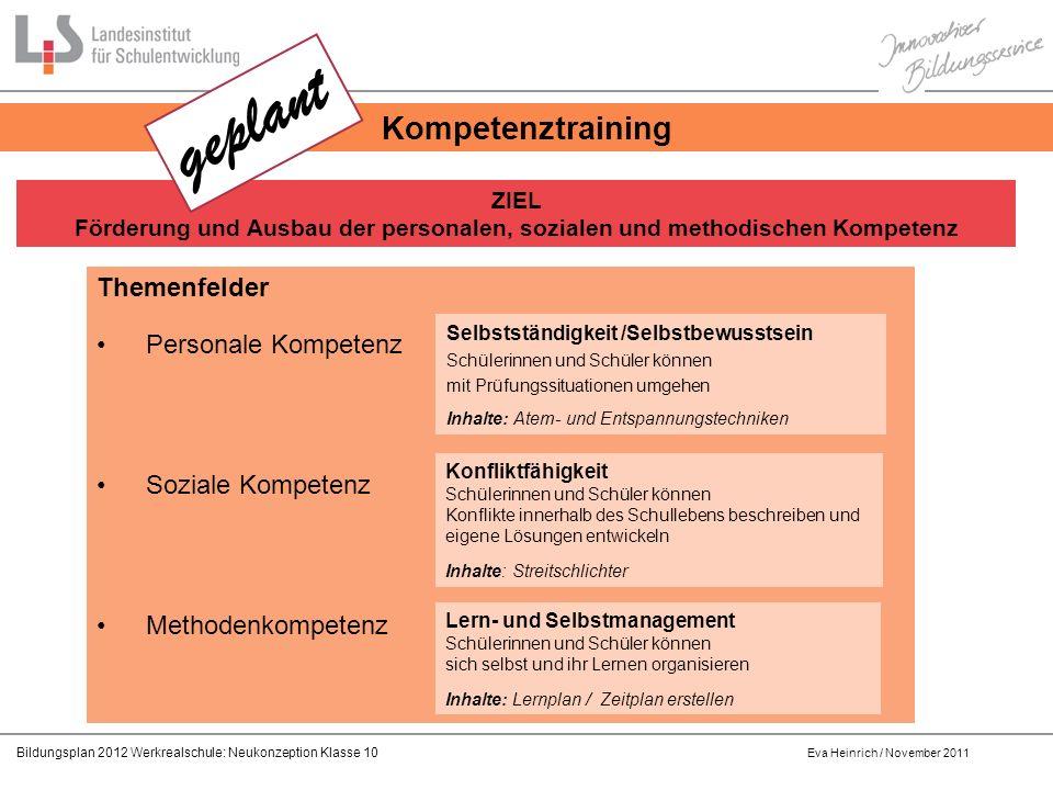geplant Kompetenztraining Themenfelder Personale Kompetenz