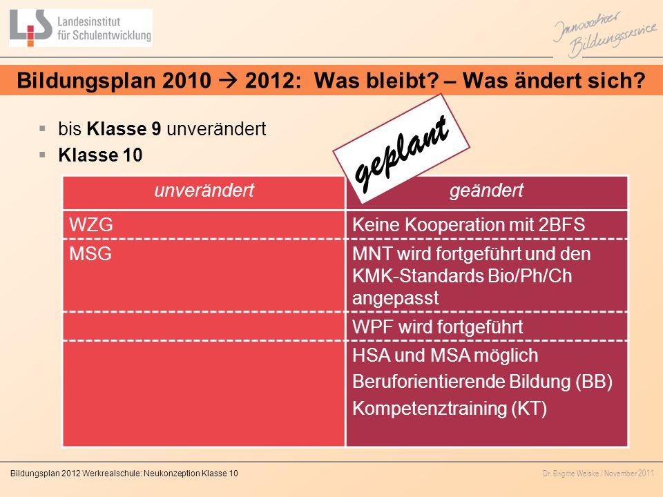 Bildungsplan 2010  2012: Was bleibt – Was ändert sich