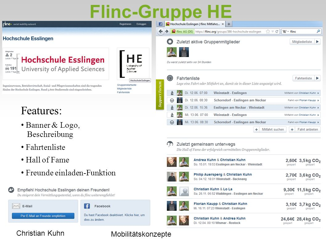 Flinc-Gruppe HE Features: Banner & Logo, Beschreibung Fahrtenliste