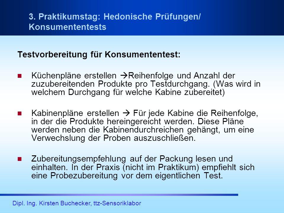 3. Praktikumstag: Hedonische Prüfungen/ Konsumententests