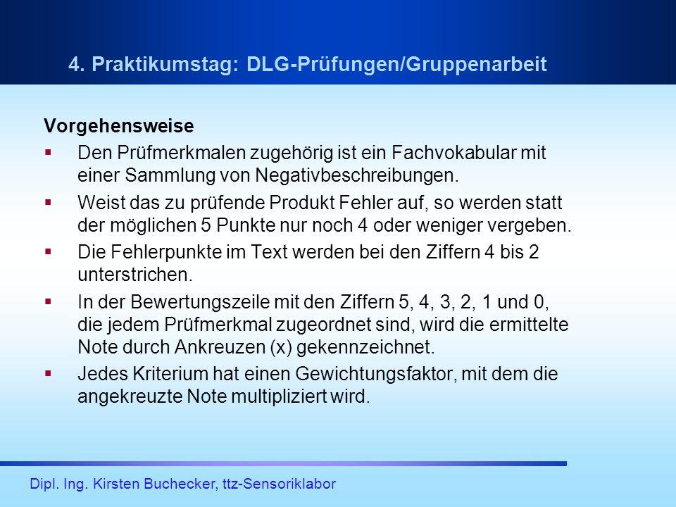 4. Praktikumstag: DLG-Prüfungen/Gruppenarbeit