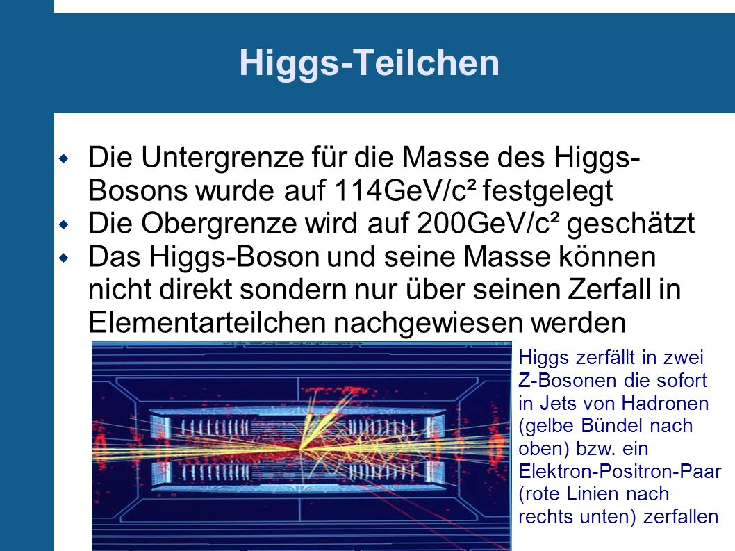 Higgs-Teilchen Die Untergrenze für die Masse des Higgs-Bosons wurde auf 114GeV/c² festgelegt. Die Obergrenze wird auf 200GeV/c² geschätzt.