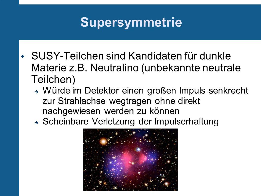 Supersymmetrie SUSY-Teilchen sind Kandidaten für dunkle Materie z.B. Neutralino (unbekannte neutrale Teilchen)
