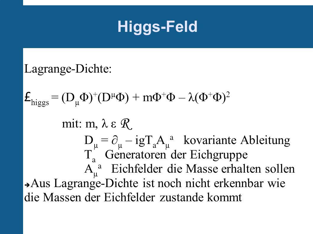 Higgs-Feld Lagrange-Dichte: £higgs = (DµΦ)+(DµΦ) + mΦ+Φ – λ(Φ+Φ)2